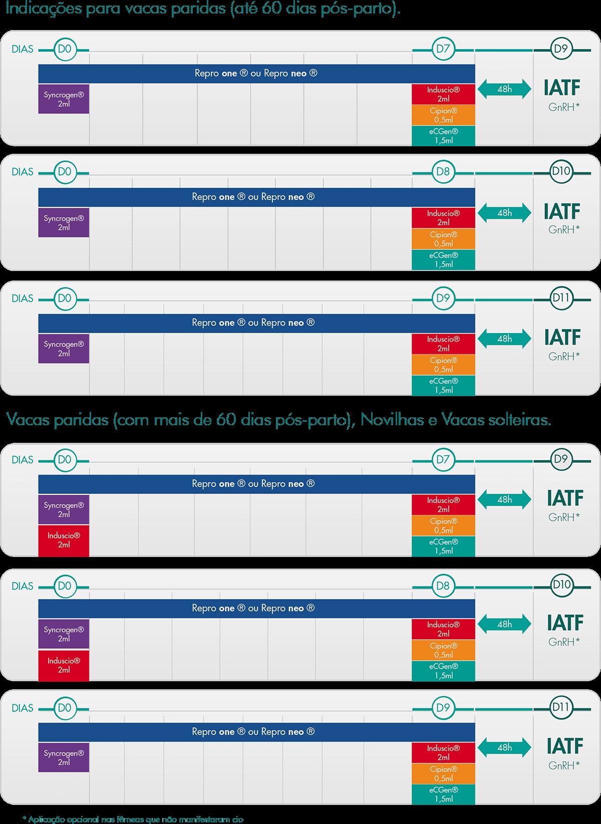 Tabela de programas e protocolos GlobalGen de fêmeas de corte